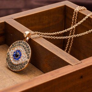 Jewelry - New! Blue Evil Eye Crystal Pendant Necklace